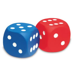 "PreK & up. These large 1 3/4"" soft foam dice will fit perfectly into any game or math activity. Set of 2 dice."