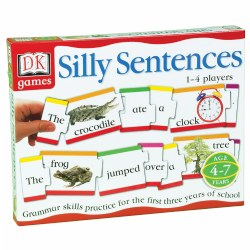 Grades K & up. Full color photos and bold graphics using all the parts of speech for children to arrange their puzzles into silly sentences. 124 color coded puzzles pieces and self checking reinforce grammatically correct sentences.