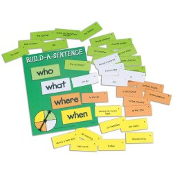 "Grades 1 - 5. Learn to put sentences together by  choosing words that represent ""Who"", ""What"", ""When"", and ""Where"".  Words are color coded and there are 2 levels of difficulty."