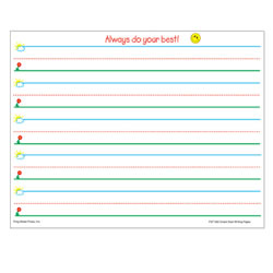 "Grades K - 1. A great learn-to-write series based on the Sky to Ground™ concept for handwriting. Bold graphics and color coded lines in blue, green, and red allow children to quickly understand the concepts of lines and space. 1"" spacing. 8 1/2"" x 11"", 360 sheets per pack."