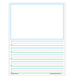 "Grades 1 - 2. A great learn-to-write series based on the Sky to Ground™ concept for handwriting. Bold graphics and color coded lines in blue, green, and red allow children to quickly understand the concepts of lines and space. Large space for illustrations with 5/8"" spacing. 8 1/2"" x 11"". 360 sheets."