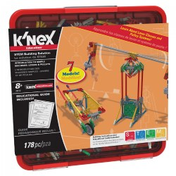Grades 2 & up. Hands-on Investigation Kit supports building a variety of real-world models that demonstrate science and technology concepts. Students will explore through hands-on investigation 1st, 2nd and 3rd Class levers along with fixed, movable and combination pulley systems. Includes building instructions for 8 different models with real-life photo and key facts. Complete set includes K'nex rods and connectors in a sturdy, divided case, teaching resource CD (with teaching notes, building projects and extension activities) and student building guide. 178 pieces. Made in the USA.