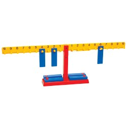 "Grades 3 & up. Help students easily grasp concepts of number relationships and operations as they tactilely and visually build equations. Self-checking balance includes twenty 10-gram weights. Balance dimensions: approximately 26""W x 8""H."
