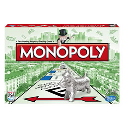8 years & up. Indulge in a property shopping spree with the classic version of MONOPOLY! Buy streets, houses and hotels and become a respected real-estate mogul. Negotiate and haggle your way to the top. You'll own this town in no time! Go for the hottest, priciest, most exclusive addresses on the board and watch your profits rocket. Includes game board, 8 tokens, 28 Title Deed cards, 16 Chance cards, 16 Community Chest cards, 1 pack of MONOPOLY money, 32 houses, 12 hotels, 2 dice, 1 speed die and instructions. For 2 to 8 players. Made in the USA.