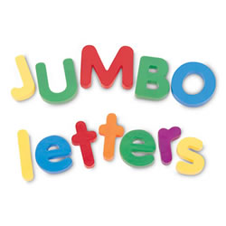 3 - 6 years. Ideal for magnet play and early language practice. Durable, plastic letters are brightly colored and jumbo sized for little hands to easily handle. Includes uppercase and lowercase letters, each in its own reusable storage container.