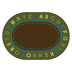 Philippians 4:13 Literacy Rug - Nature - 6' x 9' Oval