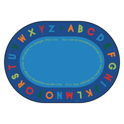 Philippians 4:13 Literacy Rug - 6' x 9' Oval