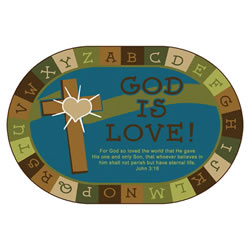 God is Love Learning Rug - Nature - 6' x 9' Oval