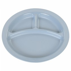 "9"" Three-Compartment Round Plate - Slate Blue (Set of 12)"