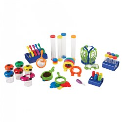 3 years & up. Equip your classroom with all the essentials for science discoveries! This Primary Science Classroom Bundle supports the exploration of a variety of science topics and is specifically designed for little hands. Promote inquiry-based learning as young students hypothesize, investigate, and form conclusions. Includes: Jumbo Test Tubes (set of 6 in a stand), Jumbo Eye Droppers (set of 6 in a stand), Jumbo Magnifiers (set of 6 in a stand), Safety Glasses (set of 6 in a stand), Mighty Magnets (set of 6), Sensory Tubes, Big View Bug Jars (set of 6), and 3 Color Mixing Lenses.