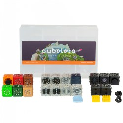 4 years & up. The Cubelets Brilliant Builder Pack provides children an opportunity to explore and experience robotics through STEM-based play. Build your Cubelet robot and pair it with the compatible companion app to use as a remote control or change Cubelets' behaviors with the Personality Swap. Educators can implement this robotics set to teach computational thinking and tactile coding while engaging their students in hands-on STEM learning. This builder pack is designed to support a single student group. Cubelets are packaged in a convenient container for durable storage and transport. Free app is available for iOS, Android, and FireOS devices. Included: 19 SENSE, THINK, and ACT Cubelets, Bluetooth® Hat, Brick Adapters, Micro-USB Charging Cable, and Cubelets Container.