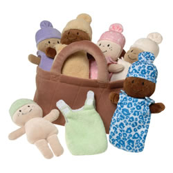 Basket of Soft Babies with Removable Sack Dresses