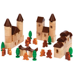 3 years & up. Young builders can explore community life with this set of 65 blocks. Roof tops, trees, people and assorted round and square blocks are all the elements they need to create their own unique city. Blocks are made from eco-friendly rubberwood and stained with low VOC aniline dyes.