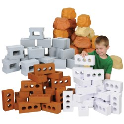 3 years & up. Build to new heights with this fantastic collection of realistic pretend bricks, blocks, and rocks! This set of lightweight, weather-proof foam builders stack easily for endless creative building projects. Included: 20-piece Cinder Block Set, 25-piece Rock Wall Builder Set, 25-piece Brick Builder Set, and 25-piece Ice Brick Builder Set.