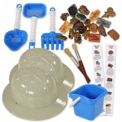 "3 years & up. With hat on head and tools in hand, children can enter the world of paleontology through discovery of ancient fossils and dinosaur skulls. Includes 10 fossils, 11 dinosaur skulls, 2 pith helmets (measuring 4.5""H x 10.95""W x 9.90""L each), 2 brushes, bucket with tools, and interesting fact sheets on each prehistoric find. All you need to do is add sand!"