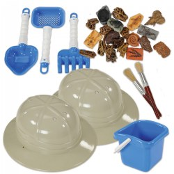 "3 years & up. With hat on head and tools in hand, children can enter the world of paleontology through discovery of ancient fossils and dinosaur skulls. Includes 10 fossils, 11 dinosaur skulls, 2 pith helmets (measuring 4.5""H x 10.95""W x 9.90""L each), 2 brushes, and a bucket with tools. All you need to do is add sand!"