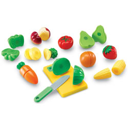"3 years & up. Pieces connect with hook and loop fasteners so children can ""slice"" them with a plastic knife and cutting board included in the set. Corncob measures 4 1/2""L. Cutting board measures 6""L x 3 3/4""W. 23 piece set."
