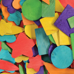 Wooden Colored Craft Shapes (400 pieces)