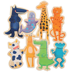 Magnetic Crazy Animal Puzzles - Set of 8
