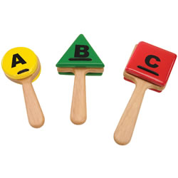 ABC Wooden Clappers - Set of 3  with Different Sounds