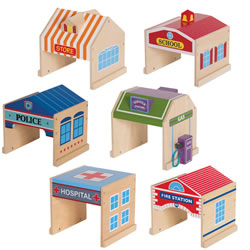 "2 years & up. A perfect addition to block play, just add unit blocks, vehicles, and community people and you have an instant city or town. This set features six recognizable buildings: Grocery Store, School, Police Station, Service Station, Hospital, and Fire Station. The buildings have bilingual copy with English on one side and French on the reverse. Spanish labels are also included to replace copy if preferred. Each plywood building has a minimum 3 1/2"" high entrance and exit and measure 6 1/2""W x 5 3/4""D x 6 1/2""H."