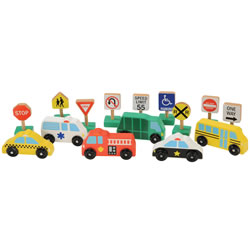 "3 years & up. These six wooden vehicles with rolling wheels and 9 familiar road signs that accompany them will help pave the way to hours of fun.This set comes with a wooden display box to help keep things organized when the play is complete and the imagination sleeps. A perfect addition to any home or playroom. Signs are 2 1/2"" high, vehicles are 3 1/2"" to 4 inches long."