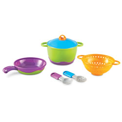 "2 years & up. Add a modern touch to any kitchen with this 6 piece cooking set.  It features soft, rubberized parts and easy-grip handles in cool colors. Pieces include: pan, strainer, pot, lid, slotted spoon and serving spoon. Largest pot measures 5 1/2""L x 4""H."