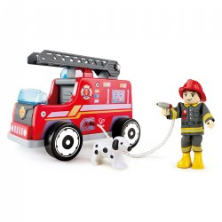 Wooden Fire Engine Playset with Working Ladder, Fireman and Dog
