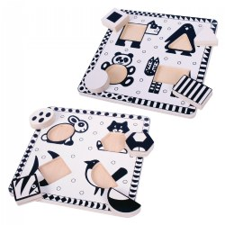 Black & White Animal Puzzle Set (Set of 2)