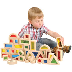 2 years & up. Bring light and color to block play with this set of 40 smooth hardwood blocks inset with colorful, transparent acrylic windows. Sized right for little hands, these blocks feature 6 different shapes, 4 different colors and are ideal for color exploration, early construction and shape recognition.
