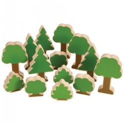 Nature's Accents: Trees and Bushes for Block Play - Set of 14