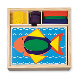 Beginner Colorful Pattern Blocks With Recessed Design Templates