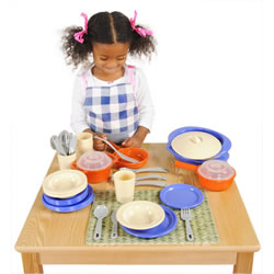 "18 months & up. All the pieces a lil' chef needs to fix a fabulous pretend meal and serve it up in style. The modern colors will lighten up any kitchen decor and give it a ""just like home"" feel. Set includes 35 pieces. Placemat and apron are not included."