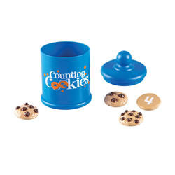 2 years & up. Learn to count with these treats! Includes plastic cookies with raised chocolate chip pieces to count and the corresponding number on the opposite side. Includes a decorative cookie jar for storing and display.