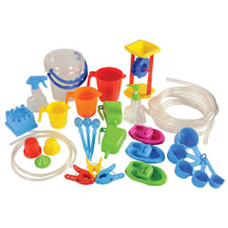 3 years & up. Sized right for small hands, this set gives children all the right tools necessary to experience water play in multiple ways. Includes tools for squirting, pouring, measuring, and floating with two sizes of tubing for experimenting. 35 piece set.