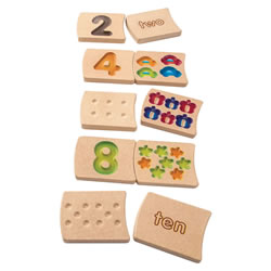 2 years & up. This 20-piece wooden tile set makes the introduction to numbers as easy as 1-2-3! The two-sided tiles feature numbers 1-10, colorful pictures and words that help young children count, match, spell and trace the numbers.