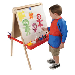 "3 years & up. This art easel is like having two easels in one! Wooden easel frame has two 24"" x 24"" dry erase boards on each side and two plastic trays. Boards adjust on legs from 36"" to 48""H. Assembly required. Cups and brushes are sold separately."