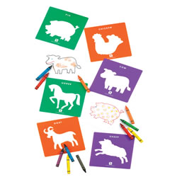 "3 years & up. Life's creatures both big and small make up this set of 24 durable plastic stencils. Includes 6 bugs and 18 animals from the farm, sea and jungle. The bug stencils measure 6 1/4"" x 5 1/8"" and animal stencils measure 8"" square. Crayons not included."