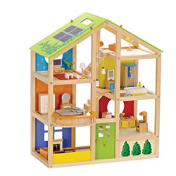 3 years & up. Brightly colored rooms and a reversible winter/summer-themed, solar-paneled roof inspire year-round activities. Features furniture that can be mixed and matched throughout the house, decorative accessories, movable stairs, and more. Assembly required.