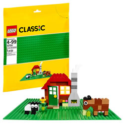"4 years & up. This green baseplate is a great foundation for building and playing with LEGO® models. Build castles, skyscrapers, or whatever your imagination comes up with! Measures 32x32 studs or 10"" (25cm) x 10"" (25cm). Bricks not included. 1 piece."