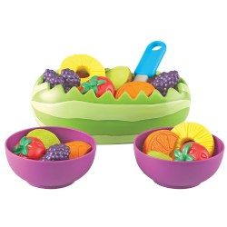 "2 years & up. The perfect healthy addition to a pretend picnic or any occasion. The watermelon boat makes the perfect bowl for a delicious fruit salad. Fill with pineapple rings, berry clusters, strawberries, kiwi, and orange slices and serve in big purple bowls for a rainbow of juicy goodness. Set of 18 includes three each of berry clusters, strawberries, kiwi slices, and orange slices, two pineapple rings, two serving bowls, serving spoon, and watermelon boat measuring approximately 8""L x 3""H."