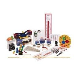 Grades 1 - 3. All the materials needed to teach concepts of length, capacity, mass, time and temperature in both customary and metric scales. Kit includes: Customary/Metric Measuring Spoons (Set of 5), Customary/Metric Measuring Cups (Set of 5), Transparent Rulers (Set of 10), Hexagram® Weights (Set of 54), Demonstration Thermometer, Student Thermometers (Set of 10), Liquid Measures (Set of 3), Platform Scale, 3 m/10' Retractable Measuring Tape, Customary/Metric Tape Measures (Set of 10), Bucket Balance, Spring Scale (1000 g/2.2 lb), 12-Hour Demonstration Clock, 1-Minute Sandtimers (Set of 2), Big-Digit Stopwatch, Step-by-Step Measurement Mat, and Storage Tub.