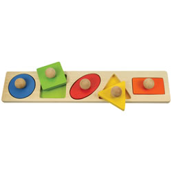 Large Knob Shapes Matching Puzzle - 5 Pieces
