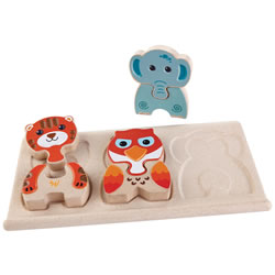 Animal Puzzle - Two-Sided Puzzle - 6 Pieces