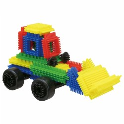 3 years & up. This set of interlocking blocks with soft bristles encourages tactile play and creative building and patterning. The blocks come in four colors and in multiple shapes and sizes.