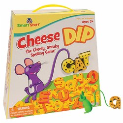 3 years & up. What is more fun than practicing spelling using a mouse's tail! Roll the die and see who gets to use their mouse tail to hook the cheesy letters, but be careful not to drop them! Features multiple levels of play, 37 letters (26 consonants, 11 vowels), twenty 2-sided cards (8 sets of 5 words), 4 mice, bowl, die and rules. 1 - 4 players.