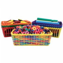 These plastic baskets in assorted colors are sized right for light manipulatives and art supplies. Use on classroom tables or in centers. Decorate the sides of the baskets to add a personal touch. Contents not included.