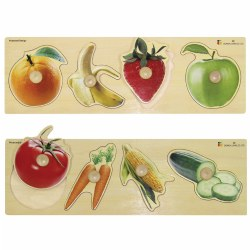 Large Knob Fruits and Vegetables Puzzle Set (Set of 2)