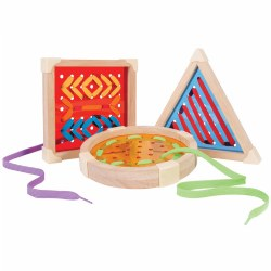 "3 years & up. This set of three over-sized lacing boards, in three geometric shapes, features plastic translucent centers and plastic tipped laces in assorted colors. The easy-to-grasp and lace frames make them great for developing fine motor skills and hand-eye coordination. Each lacing board measures approximately 7""."