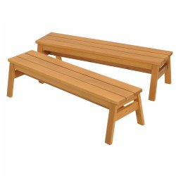 Outdoor Wooden Stacking Benches - Set of 2